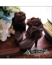 dark brown bowknot downy boots/shoes【Air Castle】for bjd SD/D...